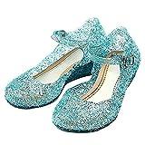 Taglia 30 - Scarpe con Tacco Zeppa e Cinturino - Elsa - Anna - Cenerentola - Principessa - Bambina - Suola 18 cm - Colore Blu con Glitter - Carnevale - Halloween - Cosplay - Idea regalo Compleanno