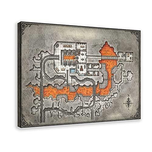 Game Map, Sewer 1 poster su tela, decorazione da parete per soggiorno, camera da letto, cornice: 20 x 30 cm