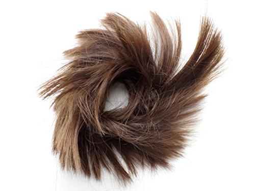 Short Feather CHOPPY pelo moño scrunchie wrap RICH BROWN