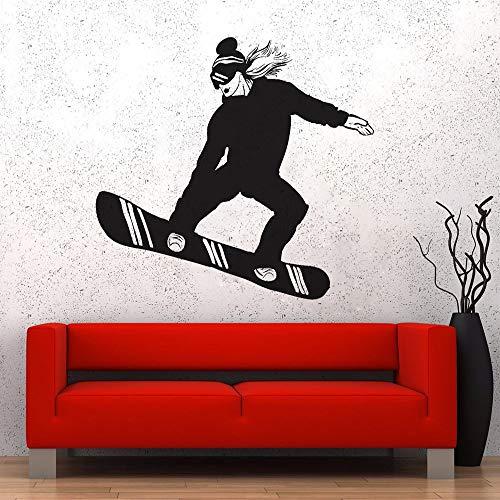 Extreme Sports Wandaufkleber Schlafzimmer Aufkleber Snowboard Sports Girl Woman Vinyl Sticker Schwarz 63x56cm