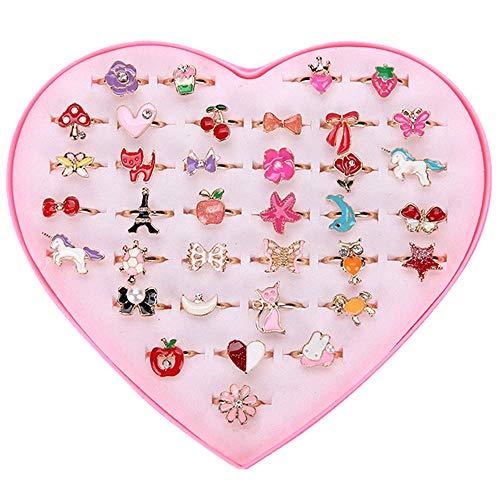 女の子 おもちゃ 指輪セット OKTOKYU 指輪セットビーズ ジェリー 人気 子供 指輪 お祭り ひな祭り女の子指リング 可愛い 子供のプリンセス 緑日 プリキュアハロウィン クリスマス 景品 アクセサリー 誕生日 プレゼントサイズ調整可能 収納ボックス