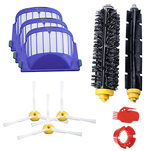 Accessory for iRobot Roomba 600 610 620 630 645 650 655 660 680 Series Vacuum Cleaner Replacement Kit Replenishment iRobot Parts Set Filter Side Brush Bristle Brush Flexible Beater Brush Cleaning Tool