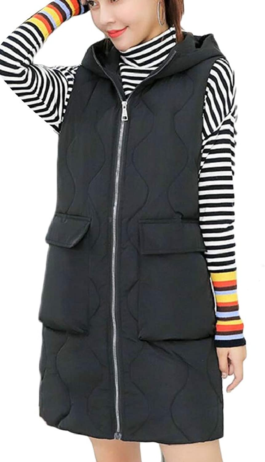 QDCACA Women with Hood Padded Zip Mid Long Length Thicken Down Vest Jackets