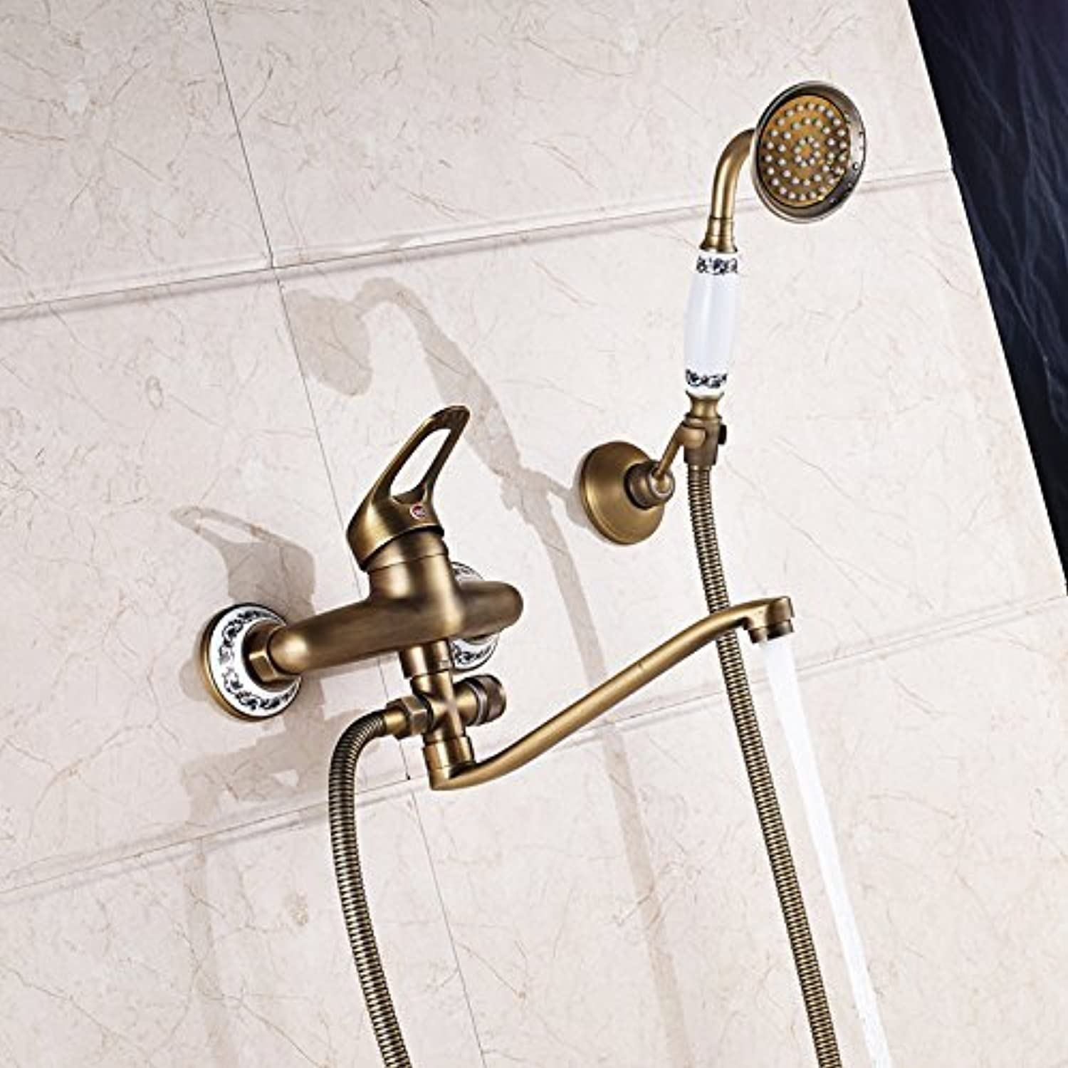 Brass Antique 25 cm Glass Shower Faucet Outlet Pipe to The Wall Assembled at Longnose Glass with Hand Shower