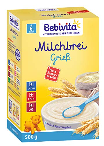 Bebivita Milchbrei Grieß ohne Zuckerzusatz, 2er Pack (2 x 500g)