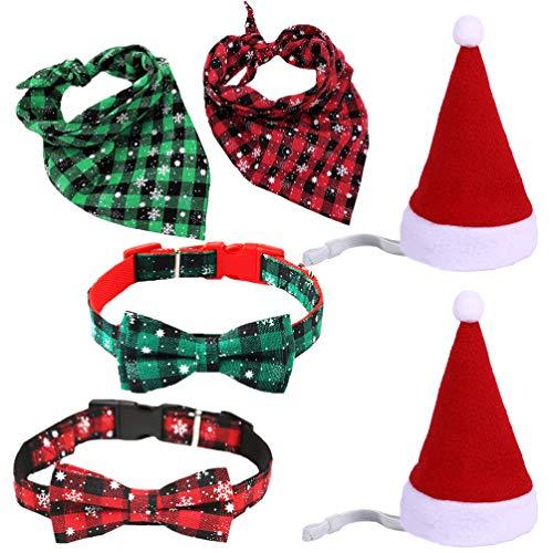 Balacoo 6Pcs Weihnachten Haustier Hund Halsband Fliege Weihnachten Hund Katze Haustier Santa Hut Schal Weihnachten Haustier Kostüm für Kleine Welpen Katze Hund Haustier