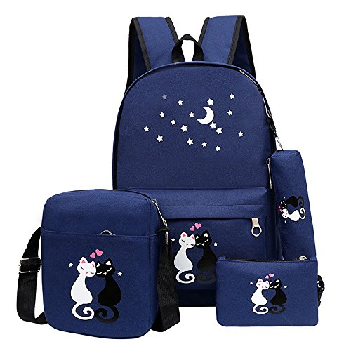 Bansusu Star Cat Prints Canvas Casual Daypack for Girls Bookbag School Backpack Set with Lunch Bag 4 pcs Deep-Blue