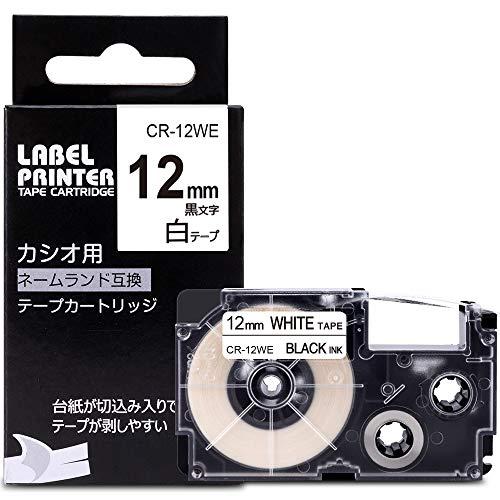 ネームランド テープ 白 12mm XR-12WE 互換 カシオ テープカートリッジ CASIO Name Land 12 黒文字 KL-TF7 KL-YK50 KL-SY4 KL-P4SET Greateam