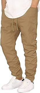 MK988 Men Solid Casual Athletic Elastic Waist Baggy-Pants Cargo Jogger Pants