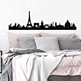 """Vinyl Wall Art Decal - Paris Skyline - 20"""" x 70"""" - Unique Modern France Europe French City Home Bedroom Living Room Store Shop Mural Indoor Outdoor Silhouette Adhesive Decor"""