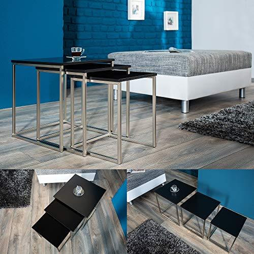 cagü: Design 3er Set Beistelltische [MAILAND] Schwarz Matt mit gebürstetem Edelstahlgestell 40/35/30cm