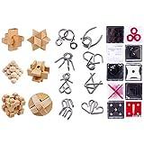 ColiCor 24pcs Rompicapo Giochi , Rompicapo in Legno e Metallo + Mini Giochi Puzzle Box ,Ro...