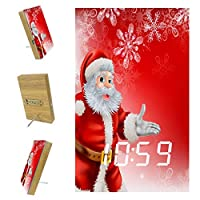 ベッドルーム用デジタル目覚まし時計キッチンオフィス3アラーム設定ラジオウッドデスククロック-サンタクリスマススノーフレーク
