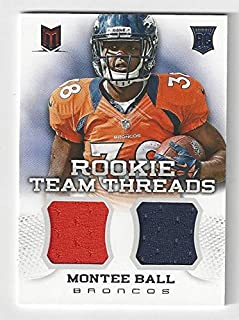 Monte Ball Rookie Team Threads Game Used Collectibe Football Rookie Card Serial Numbered #204/399 (2 Color Patch) - 2013 Panini Momentum Football Card #19 (Denver Broncos) Free Shipping