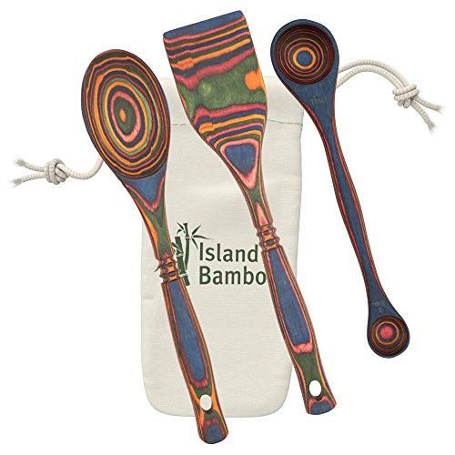 Island Bamboo Rainbow Pakkawood Baking Set – 3 Piece Kitchen Bakeware Set with Spoon, Spatula, & Double-sided 1 TBS & 1 tsp Measuring Spoon, Gift Bag Included, Eco-friendly Utensils for Housewarming