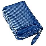 [STREAM] カーボンレザー コインケース 小さい財布 ボックス型 メンズ レディース 6ポケット ブルー