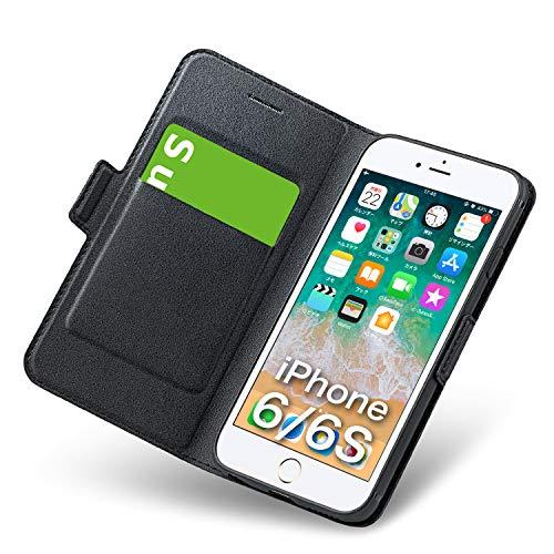 iphone6sケース iphone6ケース 手帳型 薄型 スマホケース PUレザー 全面保護 耐衝撃 カード収納 マグネット付き スタンド機能 シンプル おしゃれ (アイフォン6sケース/アイフォン6 ケース ブラック)