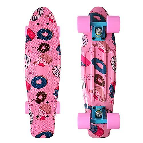 JIARU Monopatín Skateboards Patinete Retro Crucero Completo para Niños Jóvenes Adultos, (22 Pulgadas, 4 PU Ruedas Traslúcidas, Tabla De Plástico Reforzado, Rodamiento ABEC-7)