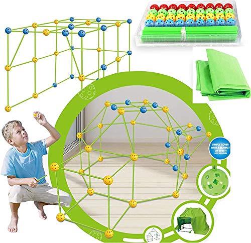 Fort Baukasten für Kinder - DIY Bauzelt Spielhaus Lernspielzeug - Indoor Outdoor Spielzeug mit Zelttuch