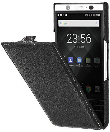 StilGut UltraSlim entwickelt für BlackBerry KEYone Hülle aus Leder - BlackBerry KEYone Flip Hülle, Klapphülle, Handyhülle, Lederhülle - Schwarz