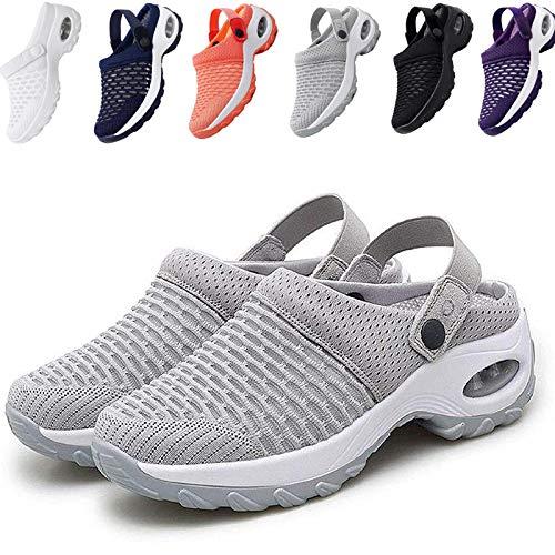KFGJ Zuecos de Cuña Antideslizante, Sandalias con Amortiguador, Mujer Transpirable Sandalias Plataforma Cómodo Ligero Casual Zapatillas Ligero Casual Zapatillas para Caminar al Aire Libre 40 Gris