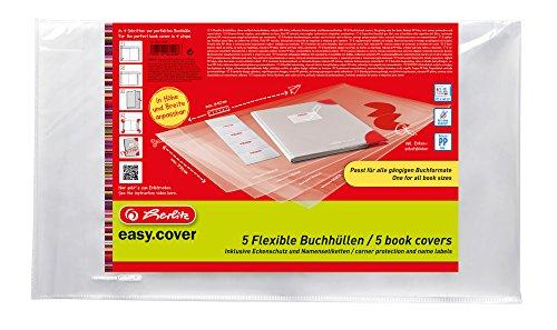 Herlitz 50014750 Buchhülle easy cover, 5 Stück im Polybeutel