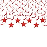 Adeer Red Twinkle Star Hanging Swirl Decorations Shiny Foil Swirls Plastic Streamers for Ceiling Wedding Baby Shower Birthday Party Decorations, 30 pcs