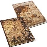 Logbuch-Verlag Set de regalo de 2 cuadernos DIN A4 en blanco + a rayas, mapa del mundo con diseño antiguo del globo terráqueo antiguo, libros vintage para personalizar, idea de regalo