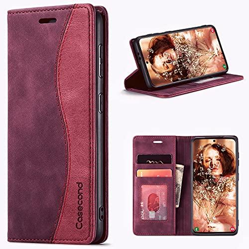 Hüllecond für Xiaomi Poco X3 NFC/Poco X3 Pro Hülle Handyhülle Leder Flip Hülle Magnet Magnetisch Klappbar Kartenfach Klapphülle Lederhülle für Männer Frauen RFID Schutz Schutzhülle Wein Rot & Rot