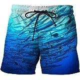 XiaoHeJD Pantalones Cortos Azules Pantalones Casuales de Playa de Verano Pantalones Cortos de Tendencia para Hombres Deportes Pesca Impresión 3D Submarino