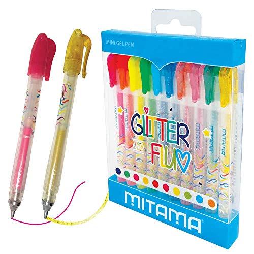 Bolígrafo mini gel purpurina y neón 10 unidades
