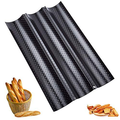 Baguette-Backblech,Baguette Backform Französisches Brot Backblech,Kann 3 Brote Halten Hochwertiger Antihaftbeschichtung Rostfrei Silber Backblech Für Familie,Bäckerei usw