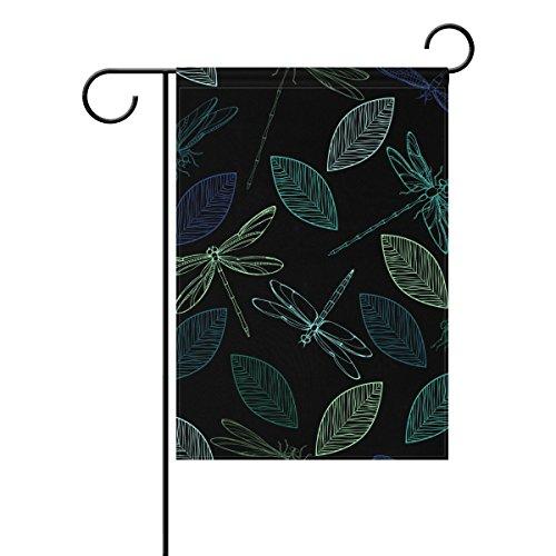 Jstel Home coloré libellules et feuilles Tissu Polyester drapeaux de jardin Lovely et résistant aux moisissures personnalisés imperméables de 71,1 x 101,6 cm