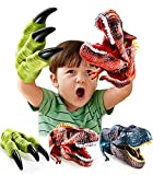 Geyiie Dinosaur Toys Hand Puppet , Dinosaur Claws Head Soft Rubber, Dino Figures Set Animal Glove T-Rex Velociraptor Puppets Gifts for Kids Toddler Boys Holiday Back to School, 3 Pack