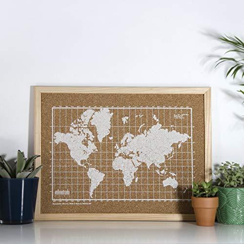 Milimetrado - Mapamundi de corcho con marco de madera de pino - 40 x 30 cm - Blanco/Marrón