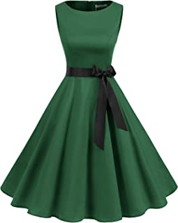 Women's Audrey Hepburn Rockabilly Vintage Dress 1950s Retro Cocktail Swing Party Dress