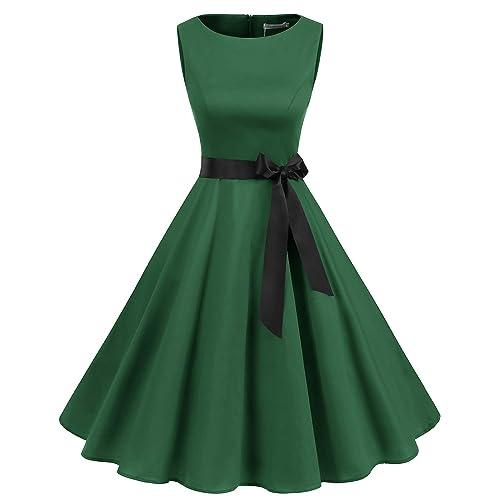 ace84e8bcb2eb Gardenwed Women's Audrey Hepburn Rockabilly Vintage Dress 1950s Retro  Cocktail Swing Party Dress