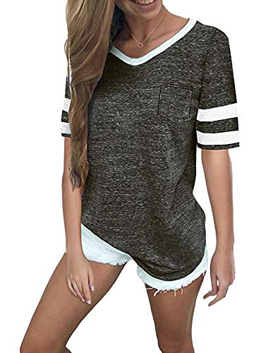 Casual Tops for Women Summer Womens Shirts Casual Short Sleeve T-Shirts (L, Black)