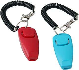 Tylu Pet Training Clicker Whistle Obedience Trainer Pet Training Whistle with Wrist Strap Blue & Red 2 Pack