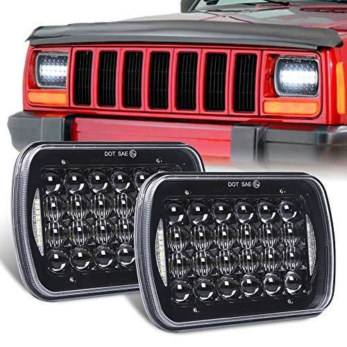 DOT Approved Osram 5''x7''/7''x6'' High/Low Beam Led Headlights with DRL Compatible with Jeep Wrangler YJ Cherokee XJ H6054 H5054 H6054LL 69822 6052 6053 (Black Pair)