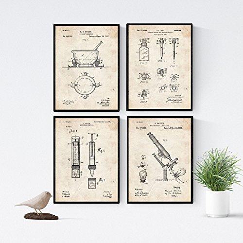 Nacnic Vintage - Pack de 4 Láminas con Patentes de Farmacia. Set de Posters con inventos y Patentes Antiguas. Elije el Color Que Más te guste. Impreso en Papel de 250 Gramos de Alta Calidad