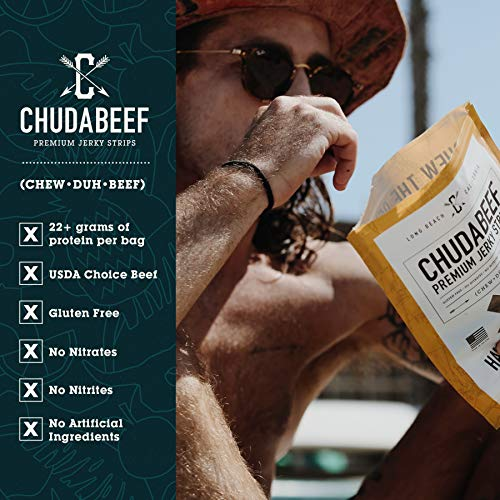 Chudabeef Original Premium Beef Jerky, All Natural Craft Jerky Snack Packs, Perfect for Hiking Camping or Snacking
