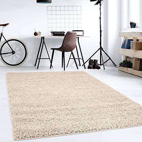 Hochflor Teppich   Shaggy Teppich fürs Wohnzimmer Modern & Flauschig   Läufer für Schlafzimmer, Esszimmer, Flur und Kinderzimmer   Langflor Carpet Creme 080x150 cm