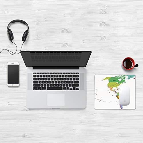 Comfortable Mouse Pad 32x25 cm,Mapa, Mapa de América del Sur y del Norte con Países Capitales y Ciudades Principale,Base de Goma Antideslizante Wipe Washable para Gamers Ordenador, PC y Laptop32x25 cm