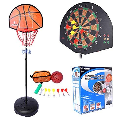 Dartboard und Basketballständer, Teckpeak Basketballkorb mit Dartboard Dartscheibe Basketballanlage Korbanlage Höhenverstellbar