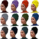 12 Pieces Head Wrap Scarf Stretch Jersey Turban Extra Long Ultra Soft Urban Headwraps for Women Solid Color African Headwear Headband Tie Wholesale Set03