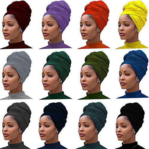 12 Pieces Head Wrap Scarf Stretch Jersey Turban Extra Long Ultra Soft Urban Headwraps for Women Solid Color African…