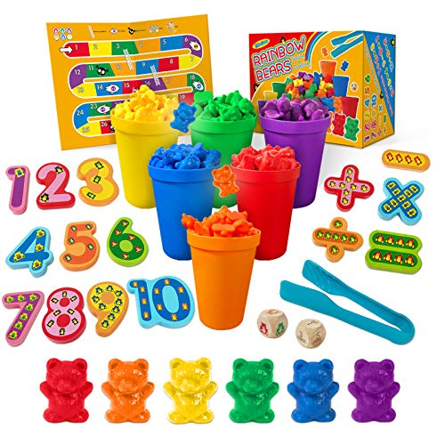 YOPINSAND Rainbow Counting Bears, Toy Gift for 3 4 5 6 7 8+ Years Old Boys Girls Fine Motor Skills, Preschool Learning Toys STEM Educational Montessori Toys for Toddlers Kids