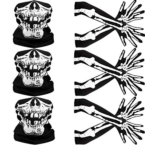 Weißes Skelett Lange Handschuhe und Schädel Gesichtsmaske Hälfte Ghost Bones Cosplay Kostüme für Erwachsene Halloween Tanz Costume Party (3 Sets)