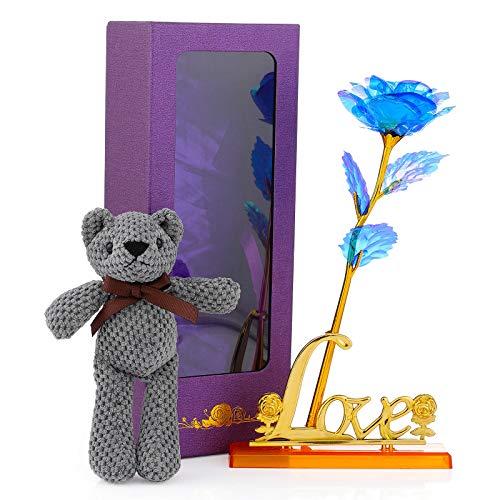 Wodasi Hoja de Oro 24K Rosa, Flor de Rosas Artificiales de Oro Rosa Plateado de 24K, Rosa 24K con Soporte Base con Amor, para Cumpleaños, Navidad, Valentín, etc(Azul)